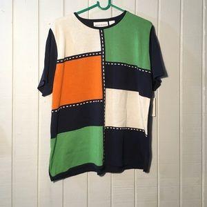 Color block t-shirt. Vintage vibes. Unisex tops